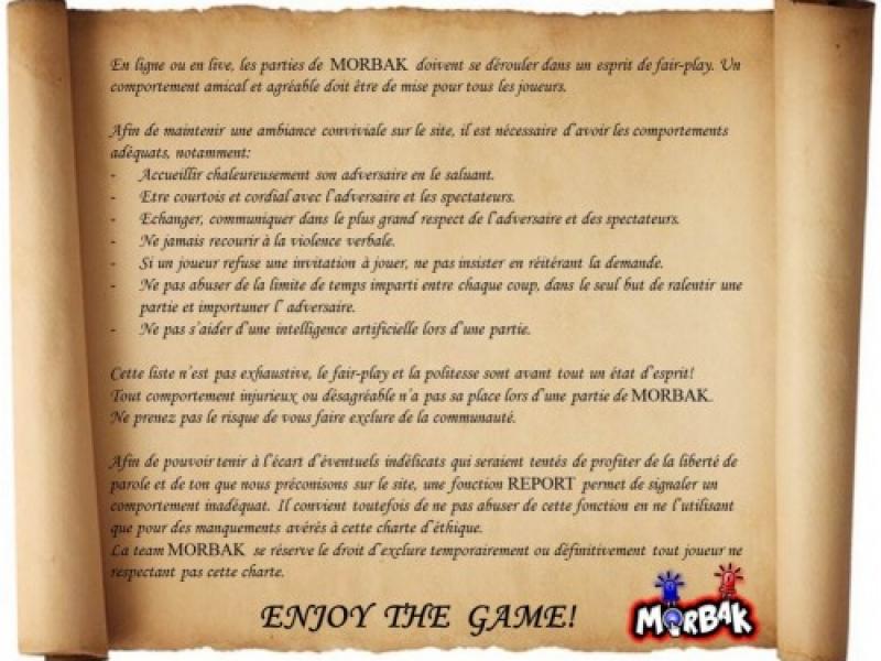 la charte d'éthique du jeu multijoueur gratuit morbak